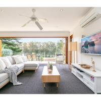 Family-size beachside escape with lagoon view