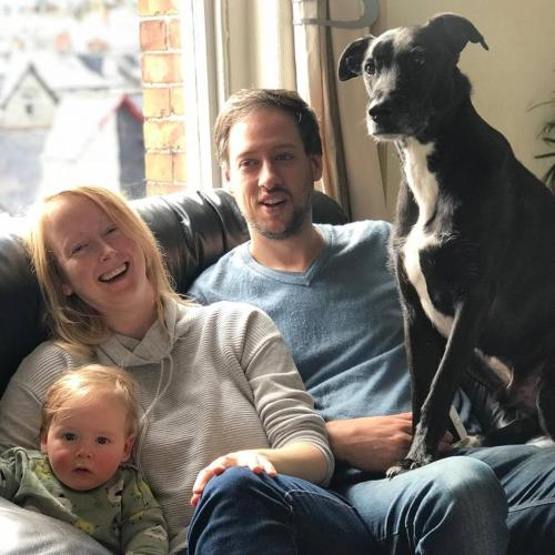 Kate, Mark and Dylan Cuthbertson with dog Geordie