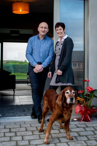 Frank Sheedy ( Chef) his wife Marian (hostess) their Red Setter Beans (greeter)
